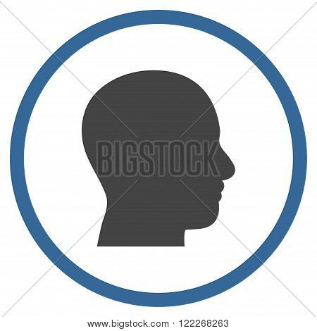 Head Profile vector bicolor icon. Picture style is flat head profile rounded icon drawn with cobalt and gray colors on a white background.