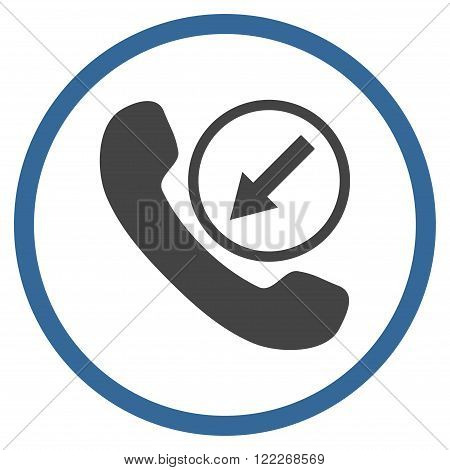 Incoming Call vector bicolor icon. Picture style is flat incoming call rounded icon drawn with cobalt and gray colors on a white background.