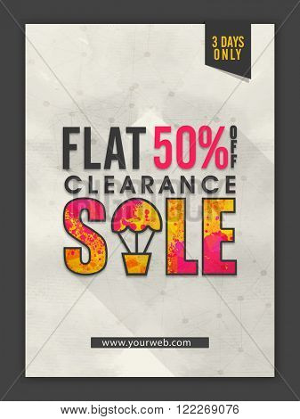 Clearance Sale Banner, Sale Poster, Sale Flyer, Sale Vector. Flat 50% Off. 3 Days Only, Vector illustration.
