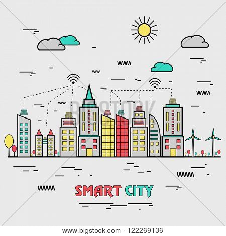 One page web design template, line art flat icons based on smart city, internet connection in modern living, futuristic living concept. Hero image, website layout and website slider.