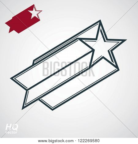 Astronomy conceptual illustration pentagonal comet star, celestial object with decorative comet tail. Armed forces design element isolated on white background.