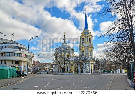 Moscow, Russia - March 14, 2016. Church of the Ascension in the field pea
