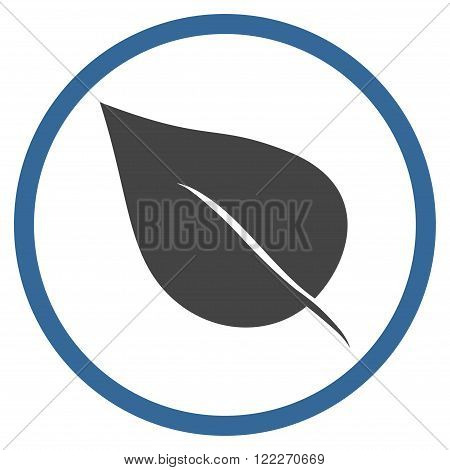 Plant Leaf vector bicolor icon. Picture style is flat plant leaf rounded icon drawn with cobalt and gray colors on a white background.