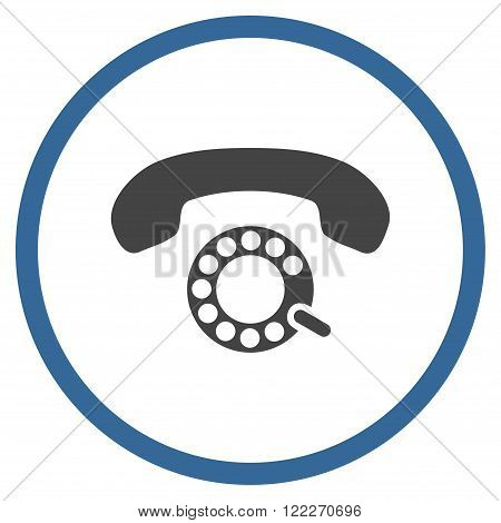 Pulse Dialing vector bicolor icon. Picture style is flat pulse dialing rounded icon drawn with cobalt and gray colors on a white background.