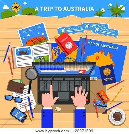 Trip to Australia concept with planning and calculating expenses symbols flat vector illustration