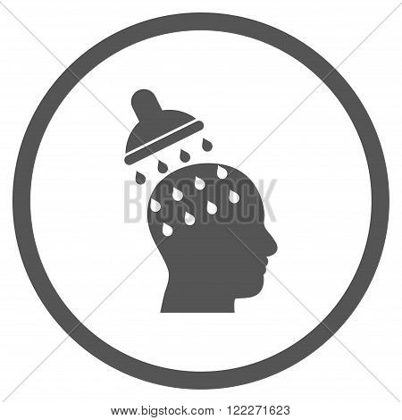 Brain Washing vector icon. Picture style is flat brain washing rounded icon drawn with gray color on a white background.