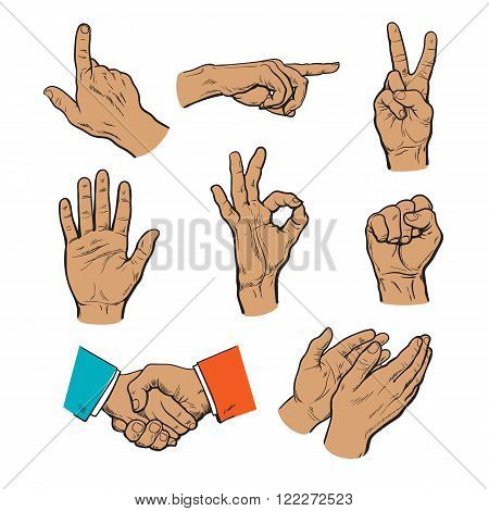 Vector set of hands. Icons of different characters. Pointing finger. Clapping, applause, Stop and ok. Touching anything. Finger touch monitor. Finger points to something. Fist as a symbol of strength