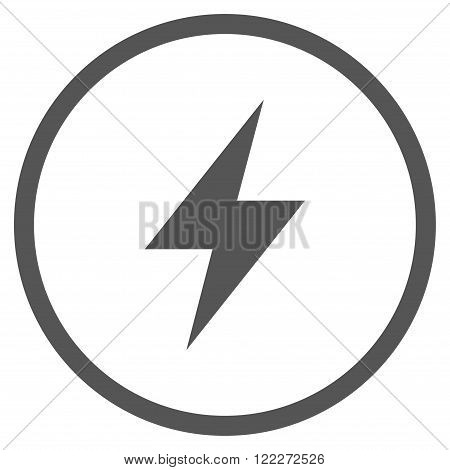 Electric Strike vector icon. Picture style is flat electric strike rounded icon drawn with gray color on a white background.