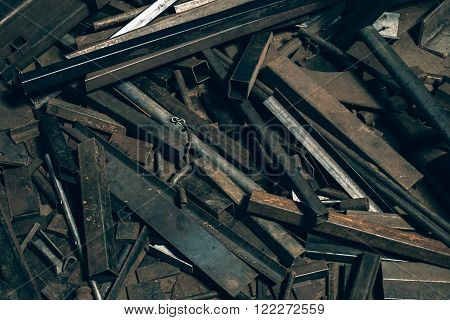 Collection of pieces of old iron garbage