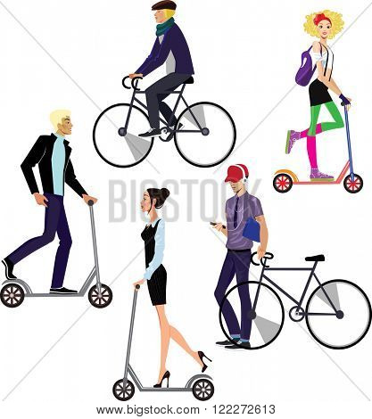 people riding on scooters and bicycles
