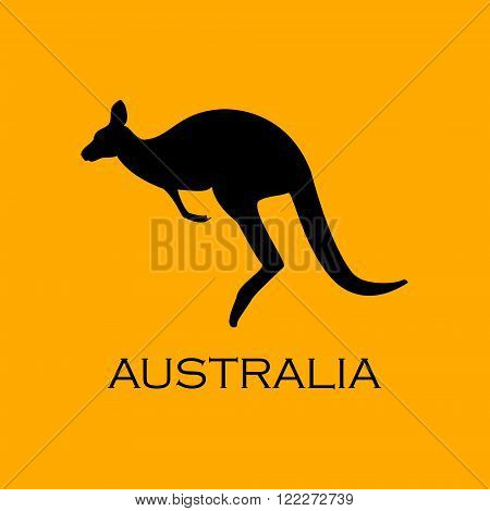 Vector illustration kangaroo black silhouette on orange background with text Australia. Australian symbol