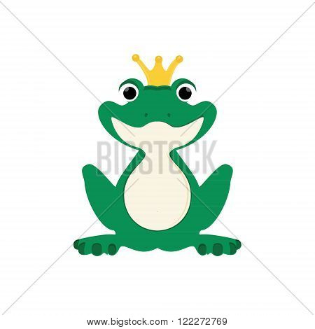 Vector illustration green cute frog with golden crown on head.
