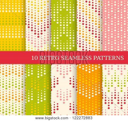 Ten color retro seamless patterns with dots. Zig zag hearts stripes made of dots with different size. Endless bright texture for wallpaper web page background wrapping paper and etc. Retro style.