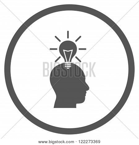 Genius Bulb vector icon. Picture style is flat genius bulb rounded icon drawn with gray color on a white background.