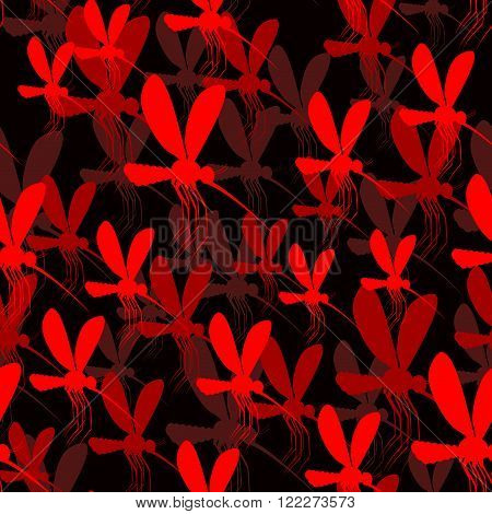 Mosquito Seamless Pattern. Red Mosquito 3D Texture. 3D Background Of Insects. Swarm Of Mosquitoes. F