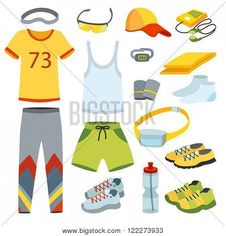 Sport Running clothes, Runner Gears and Running clothes for sport workout. Top View Running clothes Vector Illustration.