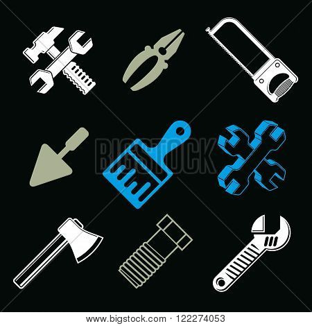 Set Of 3D Detailed Tools, Vector Repair Theme Stylized Graphic Elements Isolated On White. Collectio