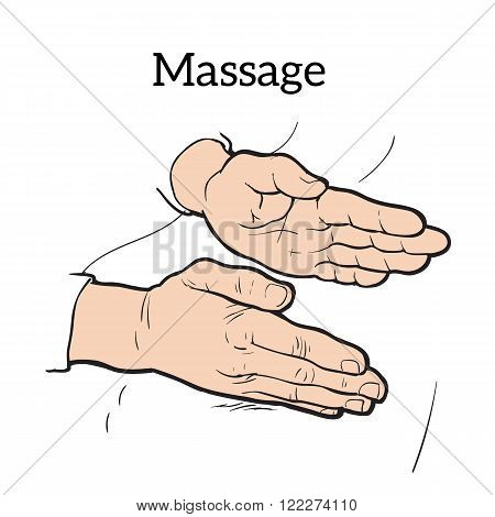 Hand massage, back massage, body massage. Hand massage. Massage therapy. Therapeutic manual massage. Massage vector icons.