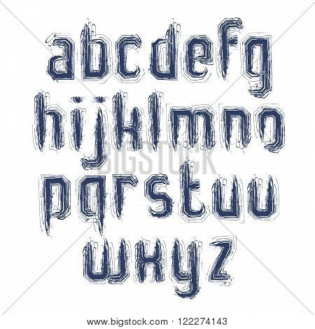 Handwritten light vector lowercase letters isolated on white background painted modern typeset.