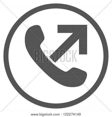 Outgoing Call vector icon. Picture style is flat outgoing call rounded icon drawn with gray color on a white background.