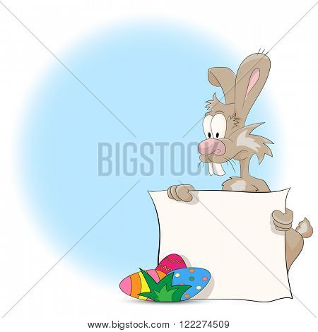 Vector illustration of a cartoon Easter bunny with Easter Eggs and blank sign for your text