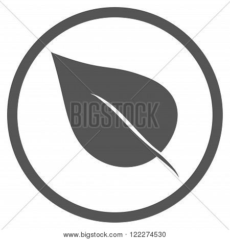 Plant Leaf vector icon. Picture style is flat plant leaf rounded icon drawn with gray color on a white background.