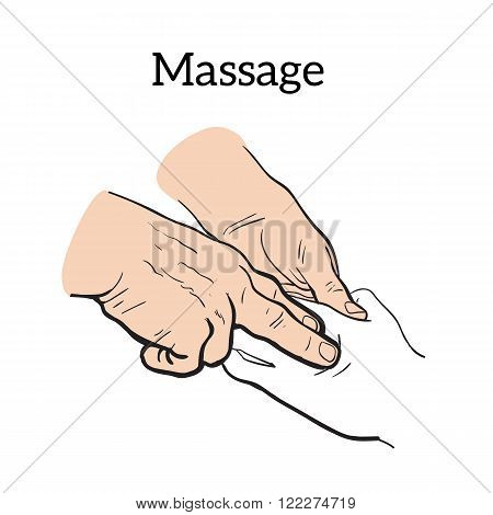 Hand massage, skin massage, body massage. Hand massage. Massage therapy. Therapeutic manual massage. Relaxing therapy. Massage vector icons.