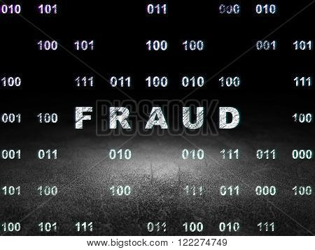 Protection concept: Fraud in grunge dark room