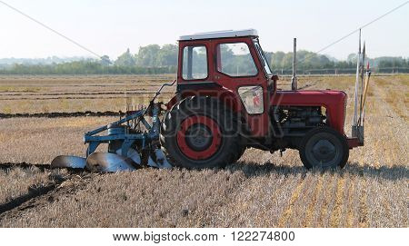 A Vintage Tractor at a Farm Ploughing Demonstration.
