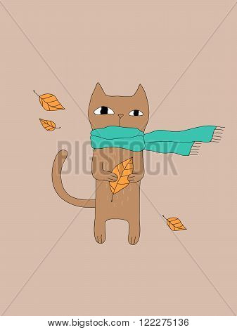 Vector illustration with cute cat in scarf and leaves for prints, posters, t-shirts, books, covers, cards, invitations and flyers. Cartoon animal. Sweet cat concept, isolated on beige background.
