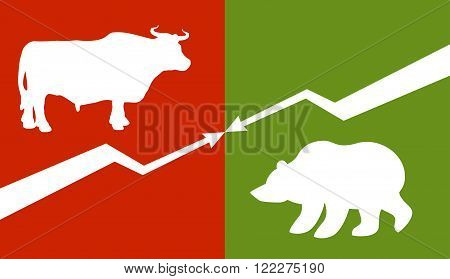 Bull And Bear. Traders At Stock Exchange. Business Allegory. Fall And Rise Of Quotations. Down Arrow