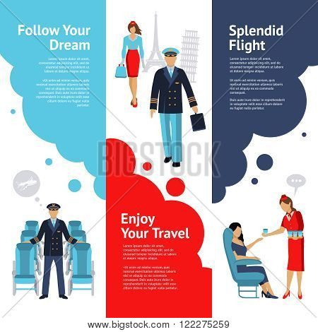 Stewardess and pilot vertical banners set with flight comfort symbols flat isolated vector illustration