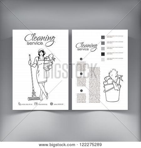 Cleaning services. The cleaner with a mop. Cleaning homes and offices. Cheerful girl with a bucket. Bucket with cleaning cleaners. Hand drawn Black and white painted.
