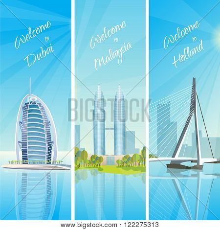 Modern cityscapes 3 vertical banners travel poster with kuala lumpur twin towers and rotterdam harbor vector illustration