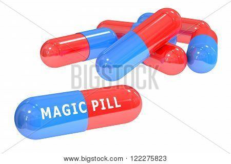 set of magic pills isolated on white background