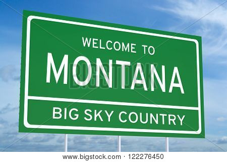 Welcome to Montana state concept on road sign