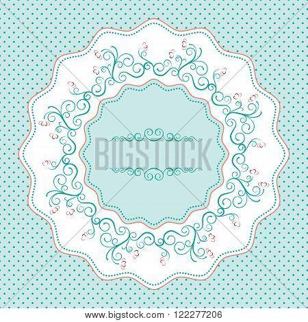 Round frame with swirls, flowers; retro polka background; napkin, menu.