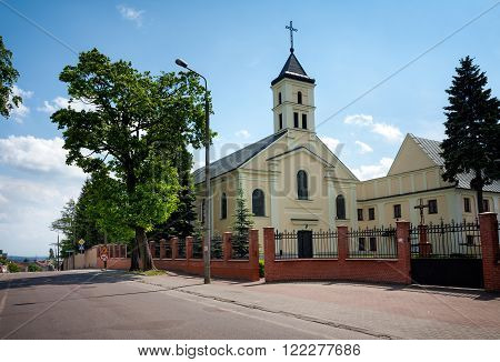 LOMZA CITY POLAND - MAY 30 2015: Benedictine nuns Church of Holy Trinity at Dworna Street