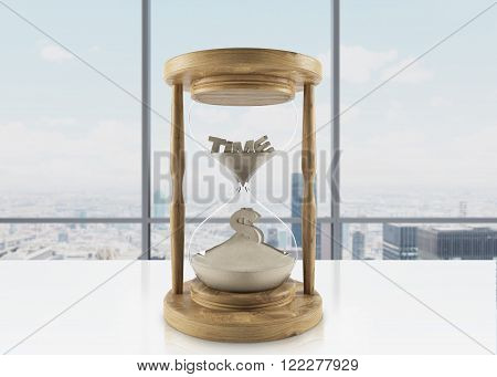 Sand glass in wooden carcass on office table word 'time' inside on top dollar sign down. Panoramic window at background. Concept of time. 3D rendering