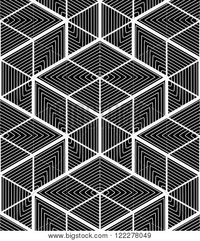 Endless Monochrome Symmetric Pattern, Graphic Design. Geometric Intertwine Optical Composition, Supe