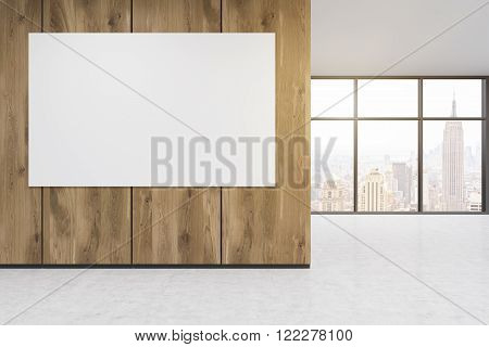 Empty office wooden wall with white poster in front of panoramic window New York view. Concept of new office. 3D rendering
