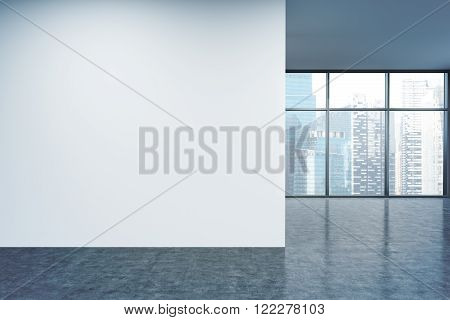 Empty office white wall in front of panoramic window Singapore view. Concept of new office. 3D rendering