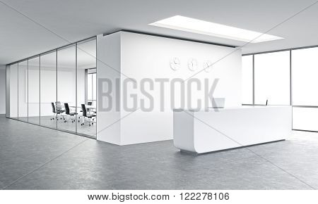 Empty office white reception at white wall three clocks on it. Panoramic window right meeting room behind. Concept of reception. 3D rendering