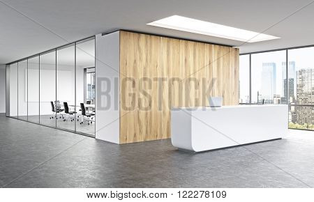 Empty office white reception at wooden wall. Panoramic window right meeting room behind. New York. Concept of reception. 3D rendering