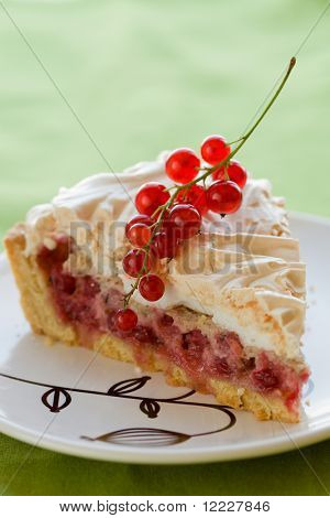 Redcurrant meringue tart on the plate