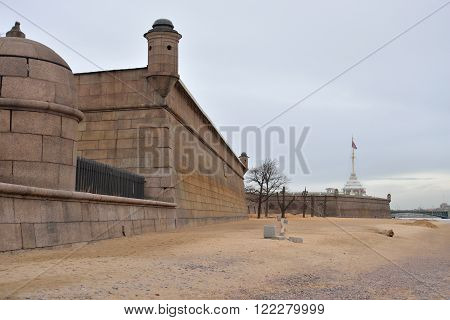 Bastion of Peter and Paul Fortress in St.Petersburg Russia.