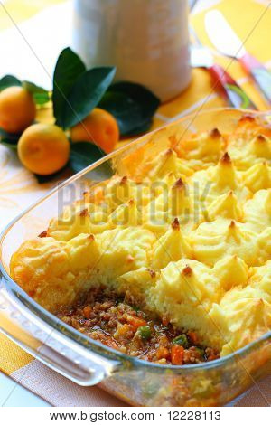 Cottage pie (potato and meat gratin)  in baking dish