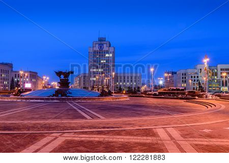Minsk, Belarus - March 5: An independence square - the main square of Minsk and the city centre, night view, in March 5, 2016 in Minsk, Belarus.