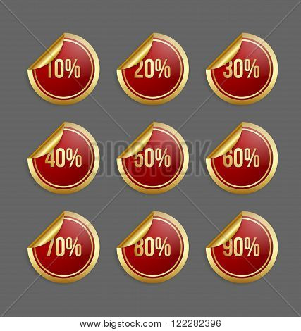 Set of golden and red bargain stickers with percentage numbers