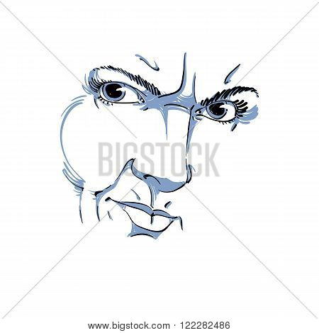 Hand-drawn Illustration Of Woman Face, Black And White Mask With Emotions. Features Of Angry Girl Wi